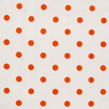 Tela patchwork: lunares naranjas sobre blanco