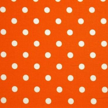 Tela patchwork: lunares blancos sobre naranja