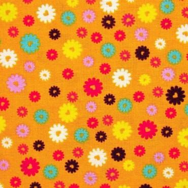 Tela patchwork: flores de colores sobre naranja