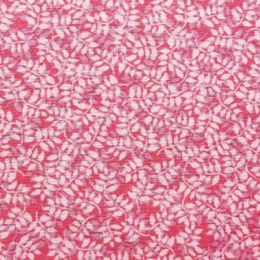 Tela patchwork: entramado de hojas en tonos rosa