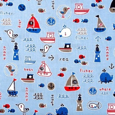 Barcos sobre azul