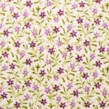 Tela patchwork florecitas en morado y lila