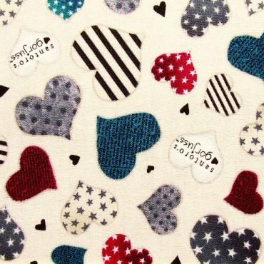 Tela patchwork Simply Gorjuss corazones sobre beige