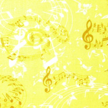 Tela patchwork notas musicales en amarillo champagne
