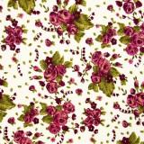 Tela patchwork ramos de rosas en color vino 1