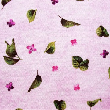 Tela patchwork Château flores y hojas de lila