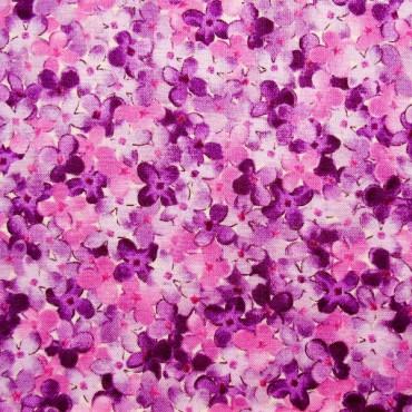 Tela pachwork Château florecitas de lila