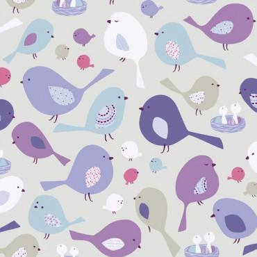 Tela patchwork pajaritos en lila, lavanda y azul