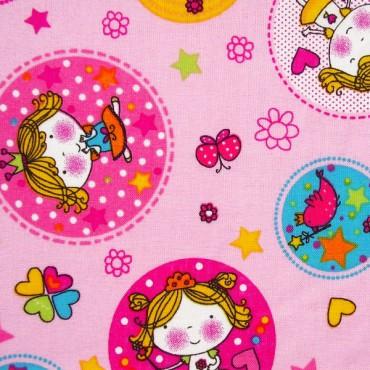 Tela patchwork princesitas en círculos