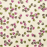 Tela patchwork Gorjuss On Top of the World corazoncitos sobre blanco crema 1