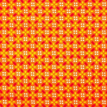 Tela patchwork florecitas geométricas sobre naranja