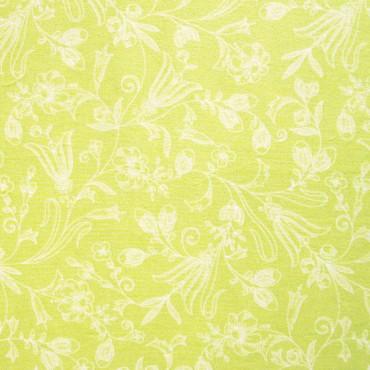 Tela patchwork entramado de flores blancas sobre verde lima