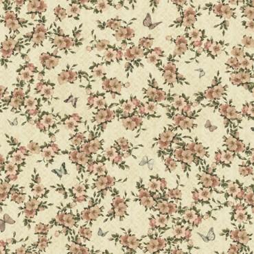 Tela patchwork Mirabelle rosas silvestres sobre beige