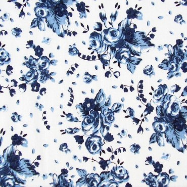 Tela patchwork ramos de rosas en azul
