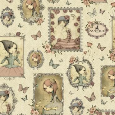 Tela patchwork Mirabelle muñequitas Mirabelle