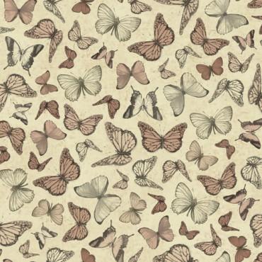 Tela patchwork Mirabelle mariposas en terracota