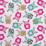 Tela patchwork buhos en turquesa y rosa 1