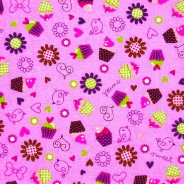 Tela patchwork cupcakes sobre rosa