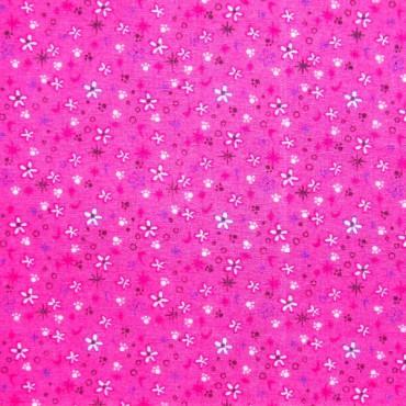Tela patchwork huellas, estrellas y flores sobre fucsia