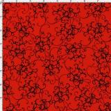 Tela patchwork Fairy Merry Christmas filigranas negras sobre rojo