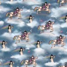 Tela patchwork Gorjuss Rainbow Dreams muñequitas por el universo