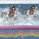 Tela patchwork Gorjuss Rainbow Dreams cenefa de muñequitas en unicornios