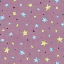 Tela patchwork Gorjuss Rainbow Dreams estrellas sobre morado