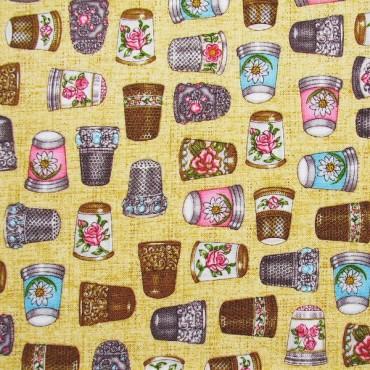 Tela patchwork Thimble Pleasures dedales de colección