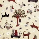 Tela patchwork Time With Friends perros y gatos sobre beige 1