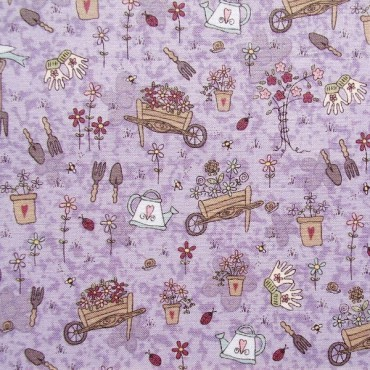 Tela patchwork Pocketful of Daisies cosas de jardín sobre lavanda
