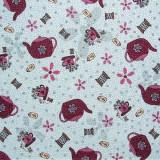 Tela patchwork Needles and Pins teteras y tazas sobre azul 1
