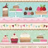 Tela patchwork Sugary Sweet cenefa de delicatessen dulces 1