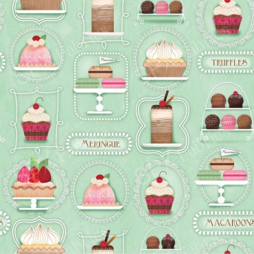 Tela patchwork Sugary Sweet delicatessen dulces sobre menta