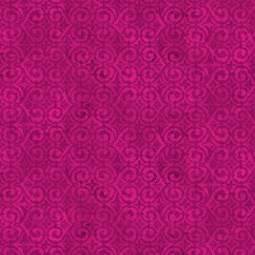 Tela patchwork Floral Fantasy simetría de espirales magenta