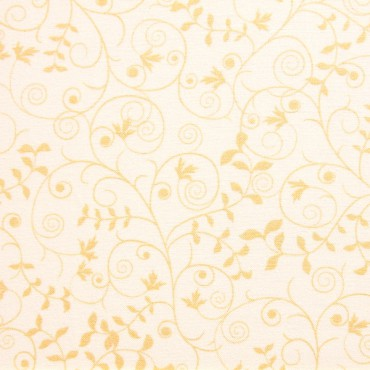 Tela patchwork filigrana beige con hojitas sobre crema