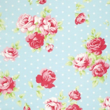Tela patchwork Lulu Roses rosas sobre azul con lunares