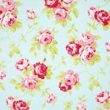 Tela patchwork Lulu Roses rosas sobre azul