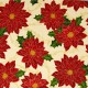 Tela patchwork Sounds of the Season poinsetias rojas