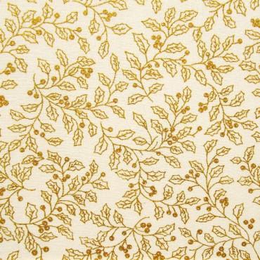 Tela patchwork acebo dorado sobre crema