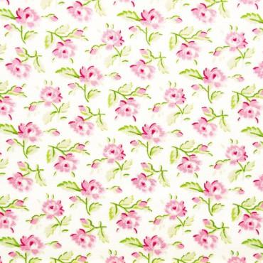 Tela patchwork Symphony Rose rositas sobre blanco