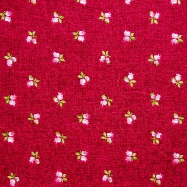Tela patchwork Symphony Rose capullitos de rosa sobre frambuesa