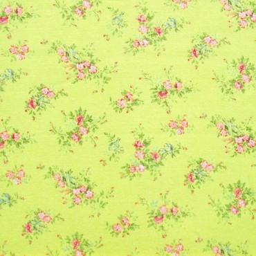 Tela patchwork japonesa Flower Points en verde