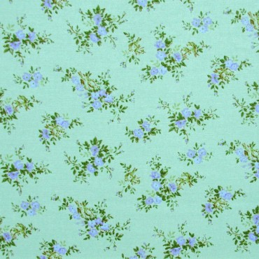 Tela patchwork japonesa Flower Points en azul verdoso