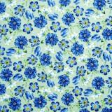 Tela patchwork Harper flores azules sobre menta 1