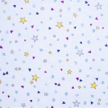 Tela patchwork Gorjuss Rainbow Dreams estrellitas sobre azul claro