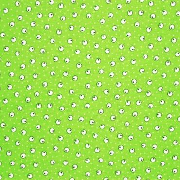 Tela patchwork japonesa circulos y lunarcitos sobre verde