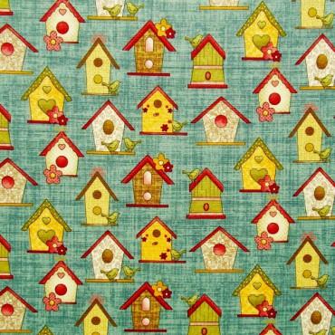 Tela patchwork Garden Days casitas de pajaritos sobre azul