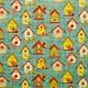 Tela patchwork Garden Days casitas de pajaritos sobre azul 1