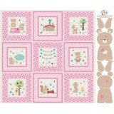 Panel patchwork Teddy Bear's Picnic en rosa