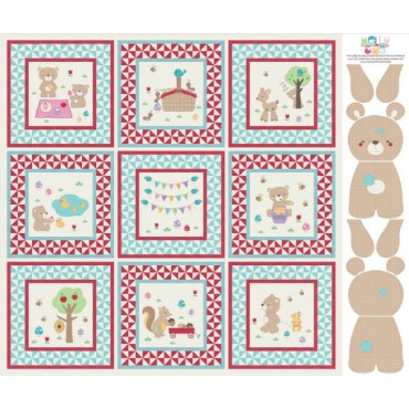 Panel patchwork Teddy Bear's Picnic en azul y rojo